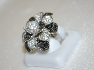 Black and White CZ Silver Ring