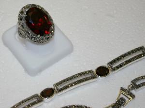 Marcasite, Garnet & Silver Ring