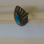 Marcasite silver turquoise ring