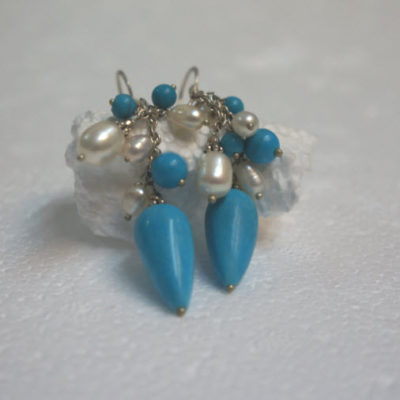 Silver earrings Freshwater Pearl & TQ