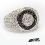 Mans Silver Ring Round BW CZ