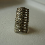 Silver Marcasite Ring 10 Row