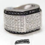 Silver ring black white cz