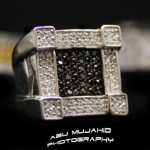 Square black white silver ring