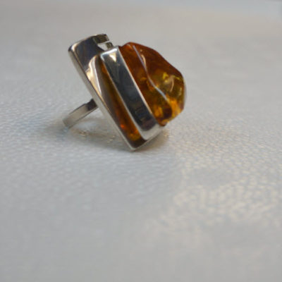 Funky Silver Ring Amber