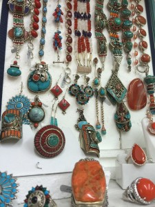 turquoise and coral with silver