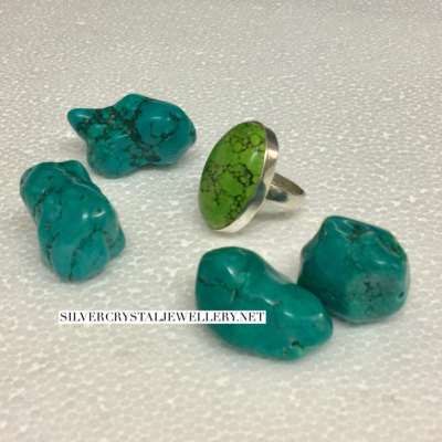Oval Green Turquoise Silver Ring