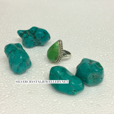 Green Turquoise Silver Ring